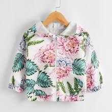 Jacke mit Blumen & tropischem Muster, Reissverschluss und Kapuze