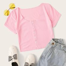 Ribbed Button Front Pink Crop Tee