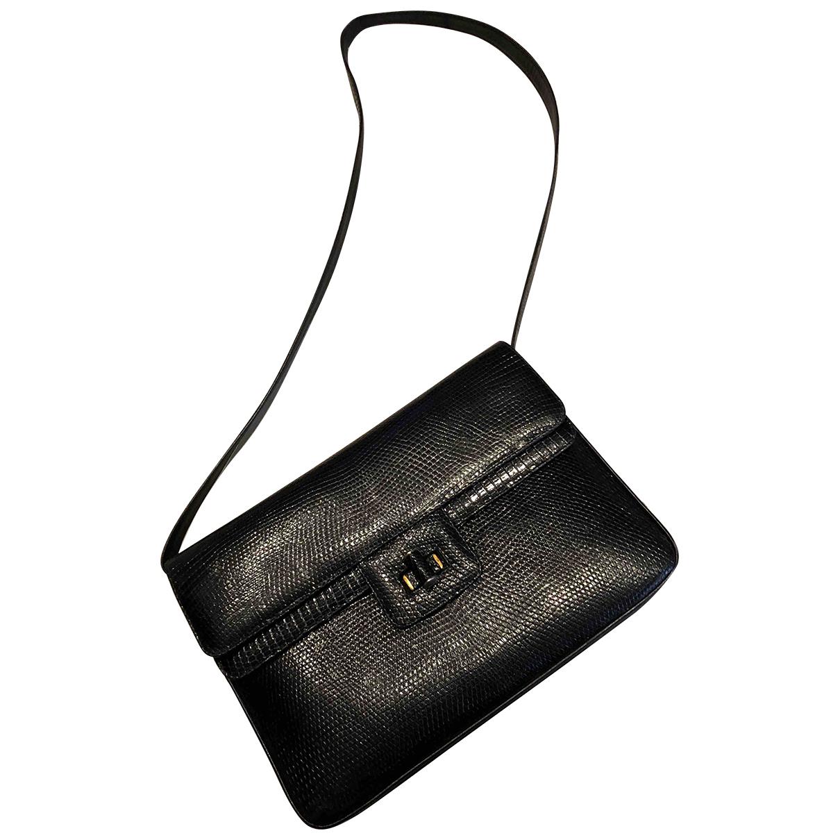 Non Signé / Unsigned N Black Lizard handbag for Women N