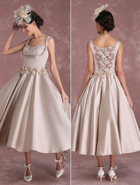 Milanoo Champagne Wedding Dresses Vintage Satin Short Bridal Gown Square Neck Flowers Applique Illusion Princess Bridal Dress In Tea Length