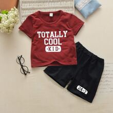 Toddler Boys Letter Graphic Tee & Shorts