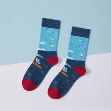 Socken mit See Muster