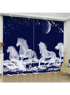 3D White and Transparent Running Horses Printed Polyester Cotton Custom Living Room Curtain