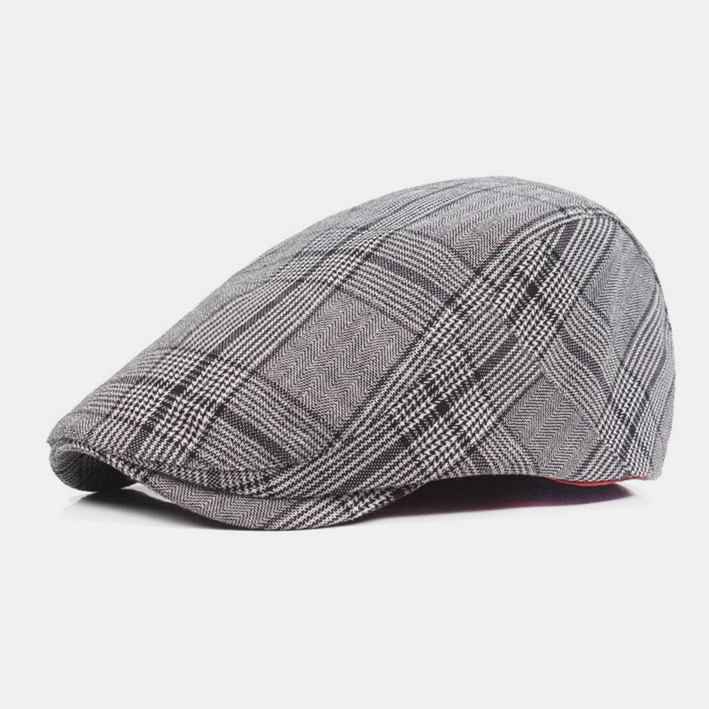 Men Cotton Casual Stripe Pattern Thin Sunscreen Visor Forward Hat Beret Hat Flat Caps