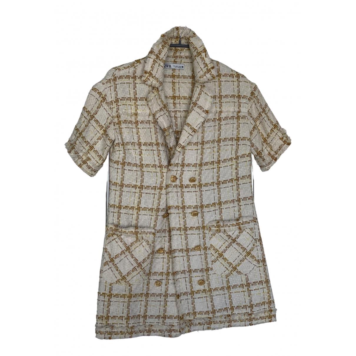 Zara - Robe   pour femme en coton - elasthane - beige