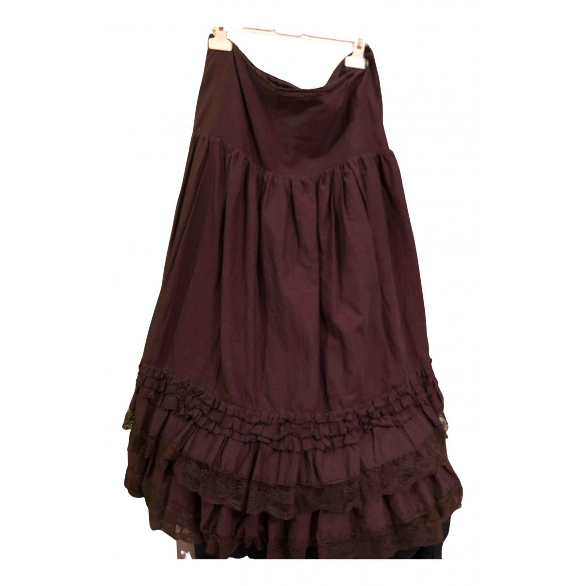 - Jupe   pour femme en coton - marron