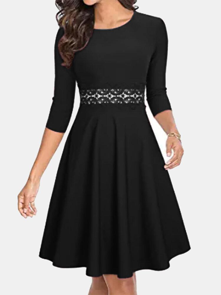 Vintage Long Sleeve O-neck Midi Dress For Women