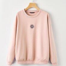 Sun Embroidery Drop Shoulder Oversized Sweatshirt