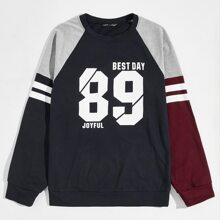 Men Number & Letter Graphic Color Block Sweatshirt