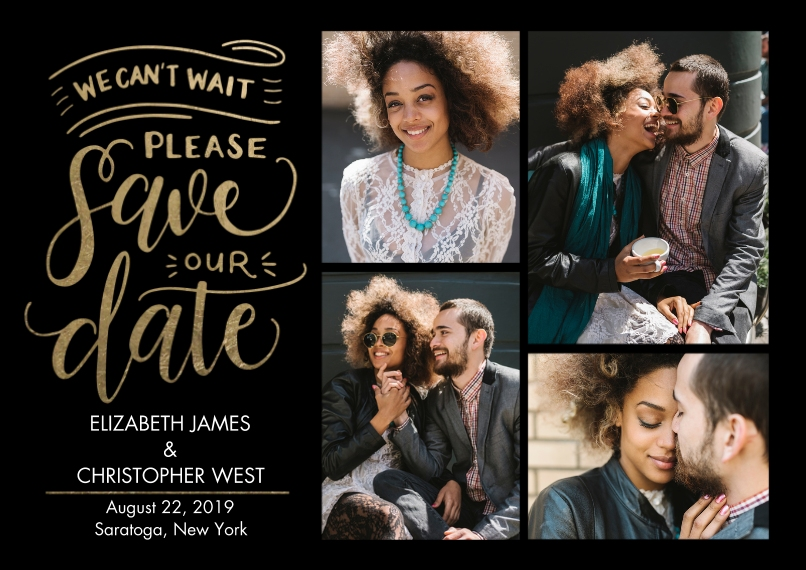 Save the Date Flat Glossy Photo Paper Cards with Envelopes, 5x7, Card & Stationery -Save Date Hand Lettered