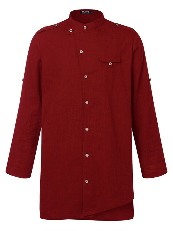 Mens Ethic Style Mid-Length Multi-Function Button long Sleeve Shirts