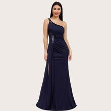 One Shoulder Ruched Sequin Split Prom Dress