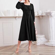 Square Neck Lace Trim Lace Up Waist Dress