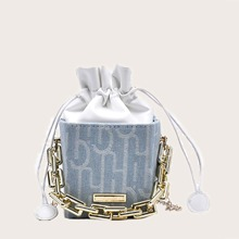 Letter Graphic Chain Bucket Bag