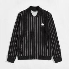 Jacke mit Buchstaben Grafik, Reissverschluss und Streifen