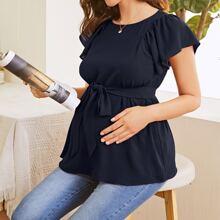 Maternity Flutter Sleeve Self Belted Top