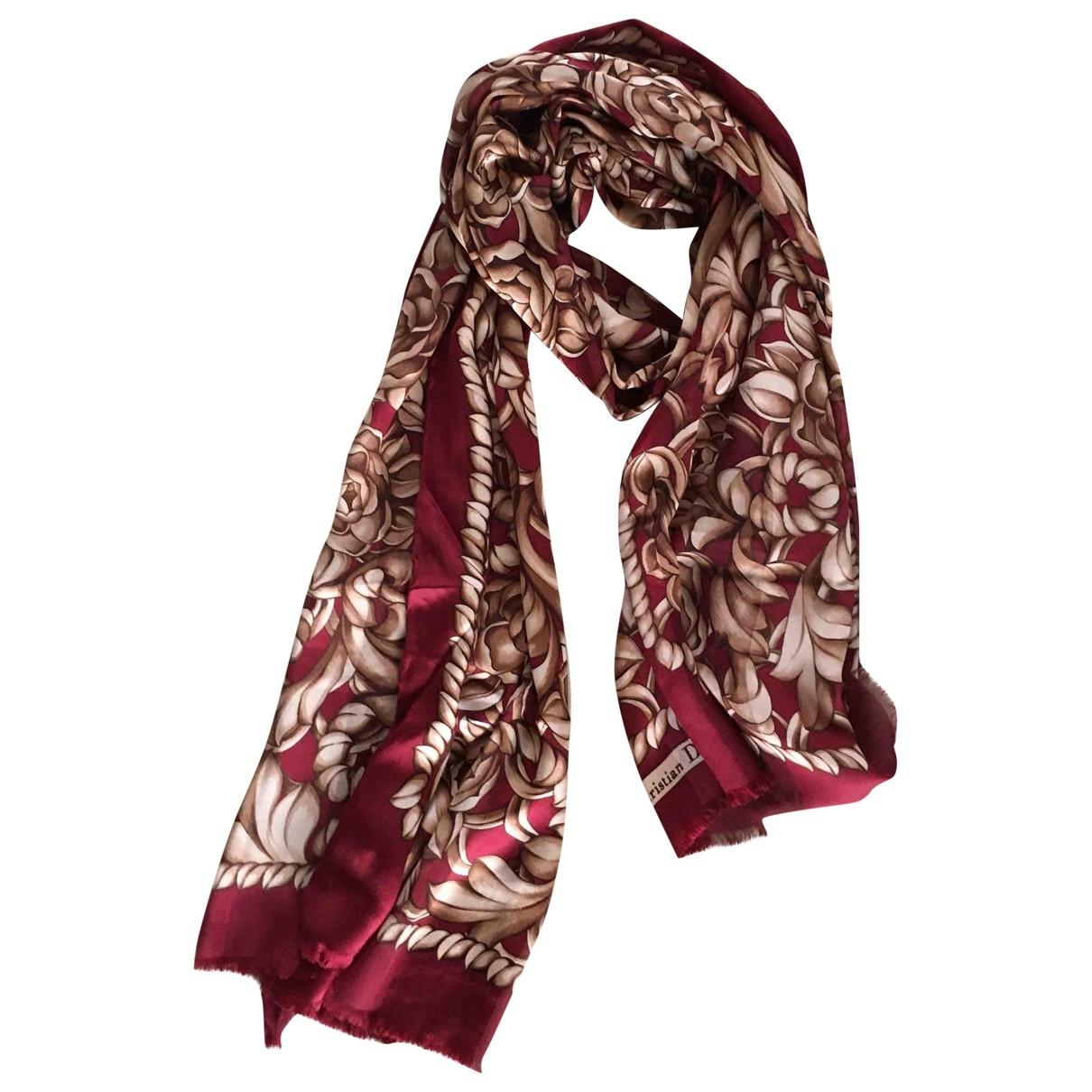 Dior \N Burgundy Silk scarf for Women \N
