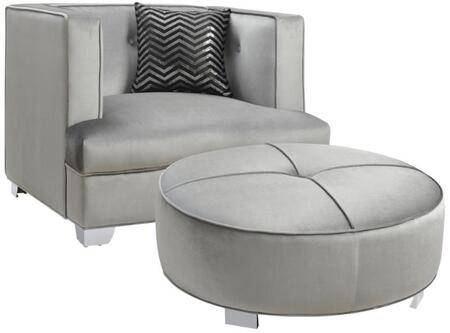 Caldwell 505883CO 2 PC Living Room Set with Armchair + Ottoman in Silver
