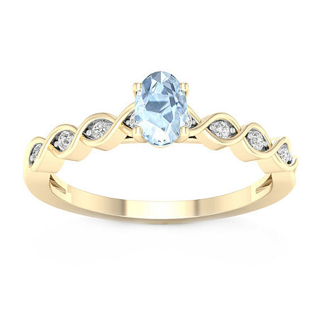 Womens Diamond Accent Genuine Blue Aquamarine 10K Gold Cocktail Ring, 6 1/2 , No Color Family