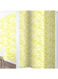 Yellow and Green Floral Printings 3D Waterproof Wall Mural