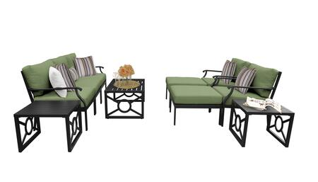 MADISON-10c-CILANTRO Kathy Ireland Homes and Gardens Madison Ave. 10 Piece Aluminum Patio Set 10c with 1 Set of Snow and 1 Set of Forest