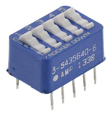 TE Connectivity 5 Way Through Hole DIP Switch SPST, Rocker Actuator