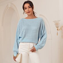 Boat Neck Batwing Sleeve Sweater