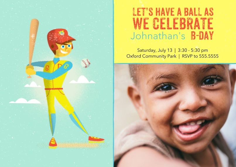 Kids Birthday Party Invites 5x7 Cards, Premium Cardstock 120lb with Rounded Corners, Card & Stationery -Homerun Bday