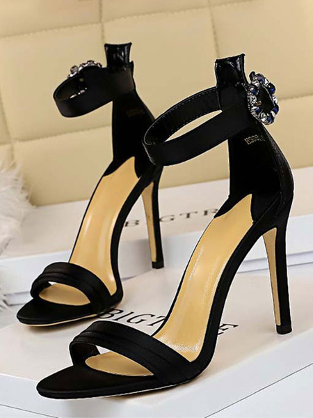 Milanoo High Heel Sandals Womens Rhinestones Buckle Open Toe Ankle Strap Stiletto Heel Sandals