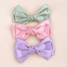 3pcs Toddler Girls Plain Bow Decor Hair Clip