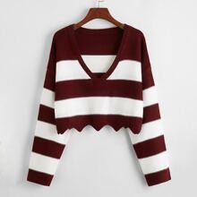 Scallop Hem Color Block Drop Shoulder Sweater