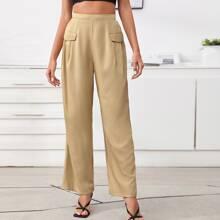 Flap Detail Solid Wide Leg Pants