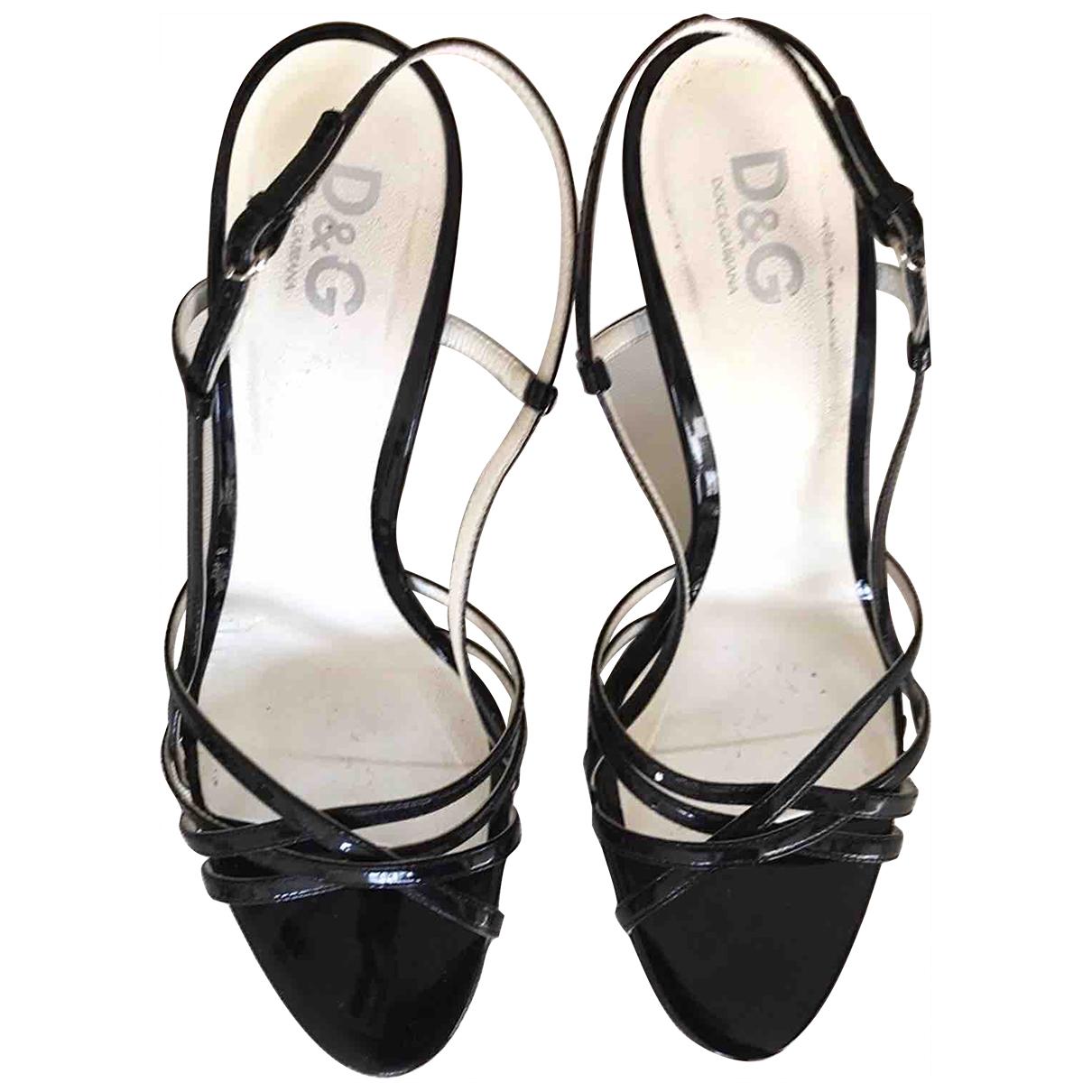 D&g \N Sandalen in  Schwarz Lackleder