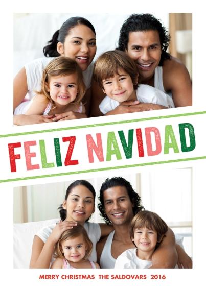 Tarjetas de Navidad 5x7 Cards, Premium Cardstock 120lb with Scalloped Corners, Card & Stationery -Letterpress Navidad