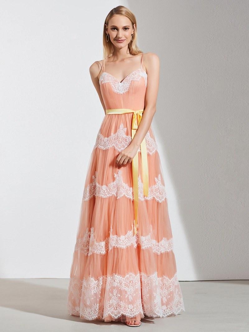Ericdress A Line Spaghetti Straps Applique Long Prom Dress