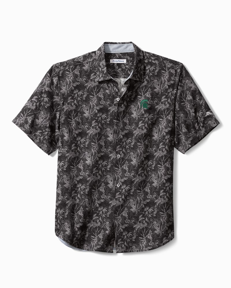 Big & Tall Collegiate Sport Jungle Shade Silk Camp Shirt