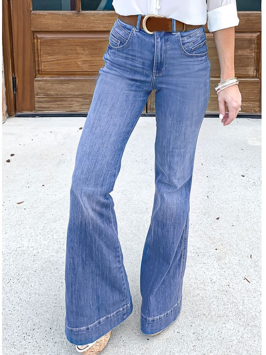 LW Lovely Chic Zipper Design Blue Jeans(Without Belt