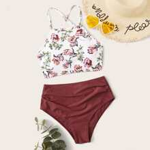 Floral Print Ruched High Waisted Bikini Swimsuit