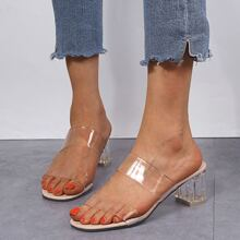 Two Part Clear Strap Chunky Heels
