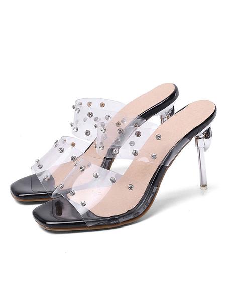 Milanoo Women\s Transparent Clear Sandals Slippers Square Toe Open toe Rhinestones Sandal Shoes