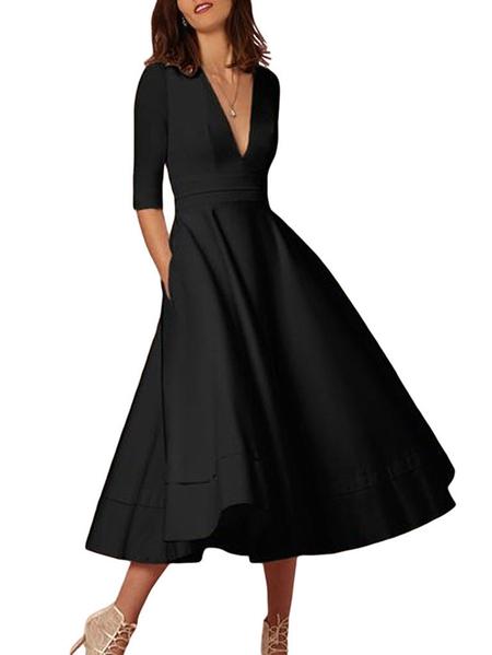 Yoins Elegant Pleated Design Deep V-neck Half Sleeves Dress