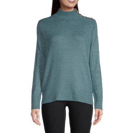 St. John's Bay Womens Mock Neck Long Sleeve Pullover Sweater, X-small , Blue