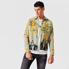 Men Tropical & Tie Dye Print Denim Jacket
