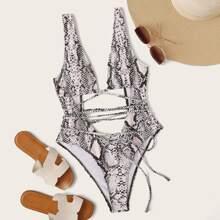 Einteilige Badekleidung mit Schlangenleder Muster und Ausschnitt