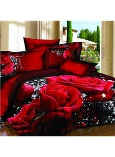 Alluring Red Rose Print 100% Cotton 3D Duvet Cover