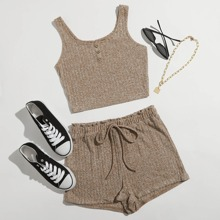 Buttoned Front Rib-knit Tank Top & Shorts Set