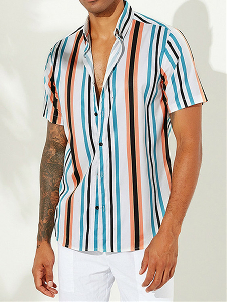 Yoins INCERUN Men Holiday Bohemia Rainbow Striped Short Sleeve Shirt