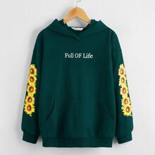 Hoodie mit Sonnenblumen & Buchstaben Muster und sehr tief angesetzter Schulterpartie