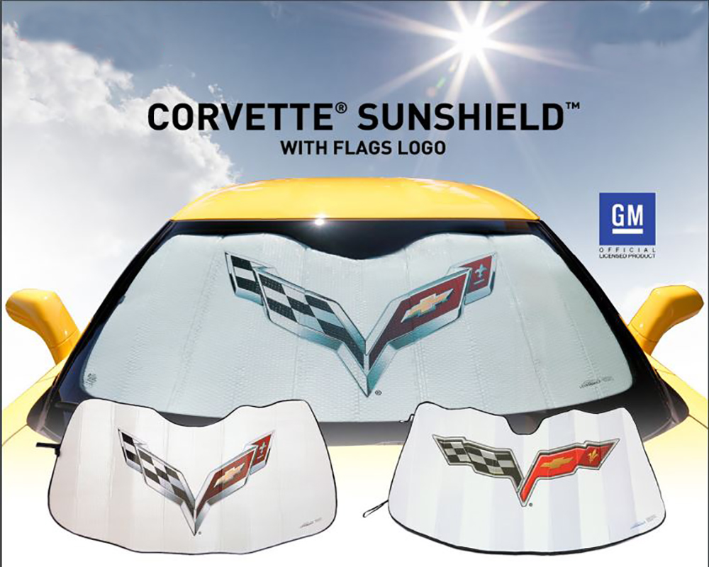 Coverking SPC971 Sunshield w/ Flags Logo Chevrolet Corvette C6 05-13