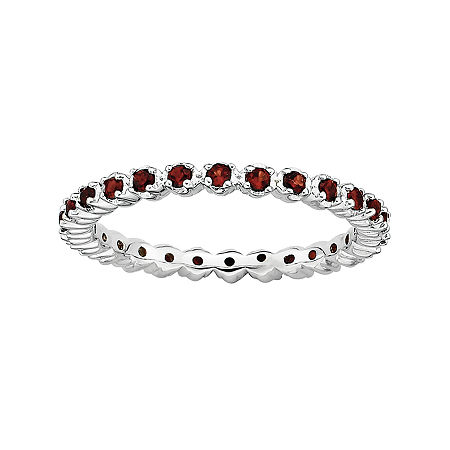 Personally Stackable Genuine Garnet Sterling Silver Eternity Ring, 6 , No Color Family